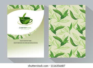 vector green tea banners tea leaves のベクター画像素材