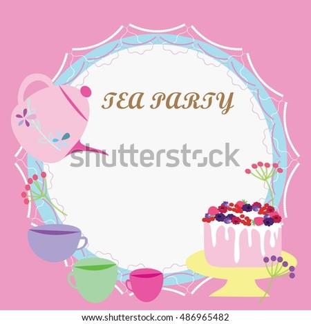 Vector Tea Party Invitation Card Pink Stock Vector Royalty Free
