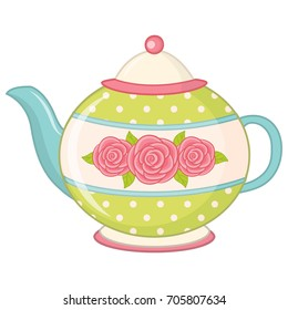 Vector tea pot decorated with polka dot and roses. Teapot vector illustration