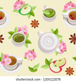 Vector tea seamless pattern. Teapots, cups with green and black tea in leaves and flowers with apple slices