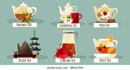 Vector tea set in flat style. Tea compositions isolated on solid background. Flat style tea icons set.-stock vector