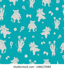 Vector teal cute and fun sporty silhouettes of anthropomorphic cartoon characters seamless pattern background