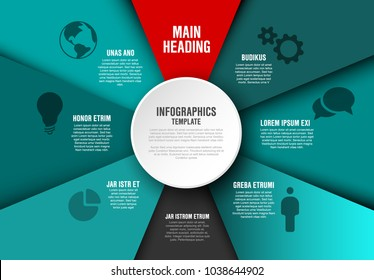 Vector teal Infographic diagram template with various sections, texts and icons