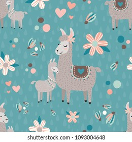 Vector Teal Mama Llama Seamless Pattern Background. Perfect for fabric, scrapbooking, kids, and home decor projects.
