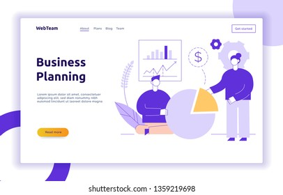 Vector teamwork and business strategy web page banner design template with big modern flat line people. Planning, finance illustration
