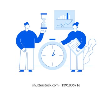 Vector teamwork and business strategy web page banner design template with big modern flat line people. Deadline illustration