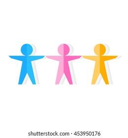 Vector teamwork concept, paper people over white background. Paper men holding together partnership symbol. Unity togetherness paper men shape connection teamwork. Relationship linked vector.