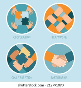 Vector teamwork and cooperation concept in flat style - partnership and collaboration icons - businessmen hands