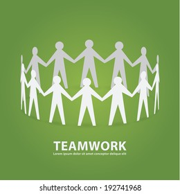 Vector teamwork illustration. Papermade people in cooperative work. Clean composition with place for your content.