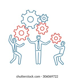 Vector teamwork skills icon of businessman with gears building engine together   modern flat design soft skills linear illustration and infographic blue and red on white background