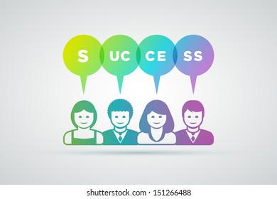 Vector teamwork and success concept illustration.