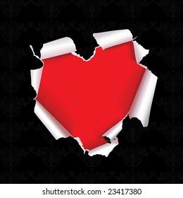 vector tear paper heart