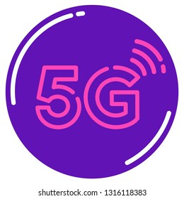 Vector tech 5G internet sign icon. Illustration of 5G sign wireless in flat minimalism style.
