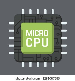 Vector tech computer chip icon. On a computer processor text: MICRO CPU. Chip illustration in flat style.