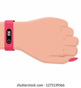 Vector tech icon hand with fitness bracelet. Hand illustration with smart tracker bracelet in flat style.