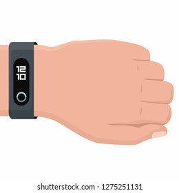 Vector tech icon hand with fitness bracelet. Hand illustration with smart bracelet in flat style.