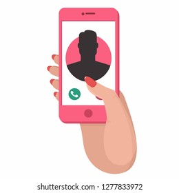 Vector tech icon hand with phone. On the phone screen call the subscriber. Illustration of a hand with a pink mobile phone in flat style.