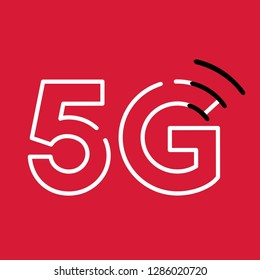 Vector tech icon sign wi fi internet 5G. Illustration of 5G internet sign in flat style.