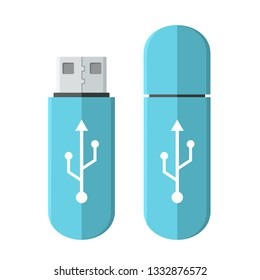 Vector tech icon USB flash drive. Flash stick blue color with a sign of connection. Illustration of USB flash drive in flat minimalism style.