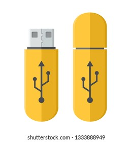 Vector tech icon USB flash drive. Flash stick yellow with a sign of connection. Illustration of flash drive in flat minimalism style.
