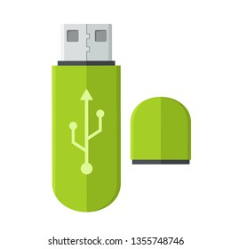Vector tech icon USB flash drive. USB stick green with sign of the connection. Illustration of usb flash memory stick in flat minimalism style.