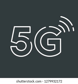 Vector tech icon wifi 5G sign. Internet 5G sign in flat minimalism style.