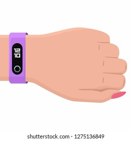 Vector tech icon woman hand  with fitness bracelet. Hand illustration with smart tracker bracelet in flat style.