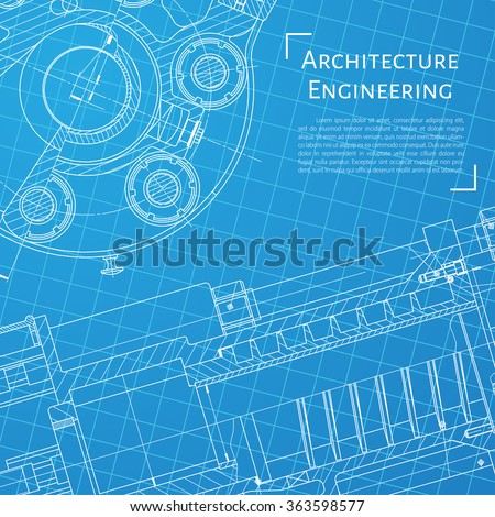 Vector Technical Blueprint Of Mechanism Engineer Illustration Set Of Corporate Identity Templates Architecture