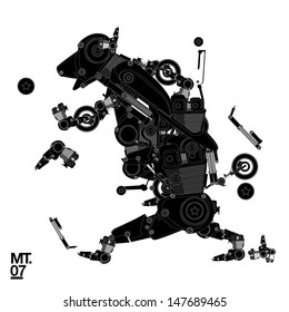 vector technical drawing dog robot character for motorbike