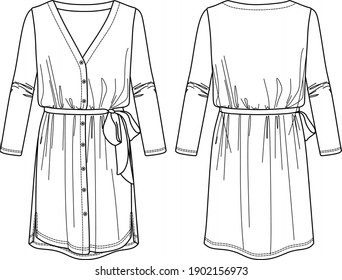 Vector technical drawing, dress fashion CAD, shirt-dress sketch with buttons
