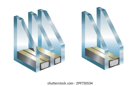Vector technical illustration with element of window - glass
