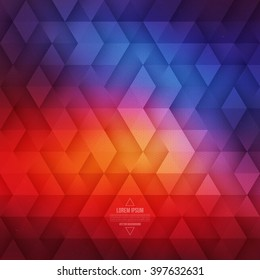 Vector technology abstract geometric background. Vector orange and blue background. Vector pattern. Vector geometric structure. Triangular vector background. Retro background. Hipster background