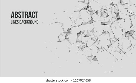 Vector technology background. Plexus effect. Abstract polygonal background with connecting dots and lines. Connection technology background.