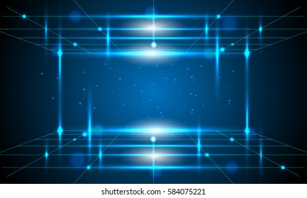 Vector technology blue lines and abstract background.
