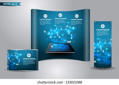 Vector technology business concept, Network process diagram on computer tablet PC With trade exhibition stand display