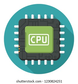 Vector technology computer chip icon. Illustration of a processor in a flat style. Text: CPU