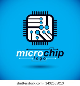 Vector technology cpu design with square microprocessor scheme. Computer circuit board, digital element. Technology microchip logo.