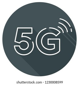 Vector technology icon network sign 5G. Illustration mobile 5g internet in flat style.