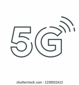 Vector technology icon network sign 5G. Illustration 5g internet in flat style.