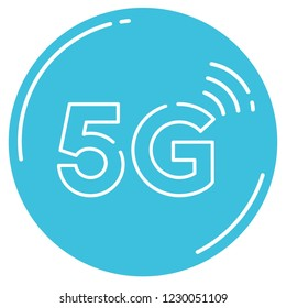 Vector technology icon network sign 5G. Illustration mobile internet 5g sign in flat style.
