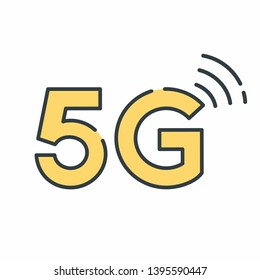 Vector technology icon network sign 5G. Illustration 5g internet symbol in flat line minimalism style.