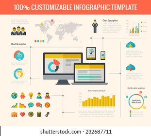Vector technology infographic presentation. Infographic template for technology presentation design. Infographic Includes vector elements: diagrams, charts, bars, technology icon pack, infographic map