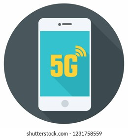 Vector technology mobile phone icon. White Smartphone illustration in flat style. On the screen text: 5G