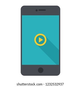 Vector technology mobile phone icon. Black Smartphone illustration in flat style. On the screen, the start button.