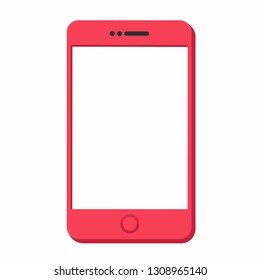 Vector technology mobile phone icon. The smartphone is red. Illustration of smartphone in flat minimalism style.