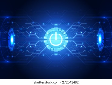 vector technology power button abstract background, illustration