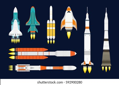 Vector technology ship rocket cartoon design for startup innovation product and cosmos fantasy space launch graphic exploration.