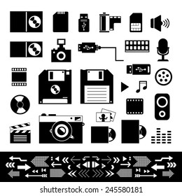 vector technology and storage icons set