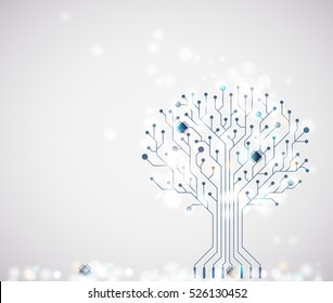 Vector technology winter abstract background. Circuit board tree