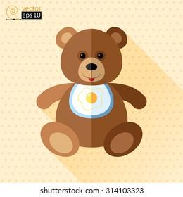 vector teddy bear flat icon